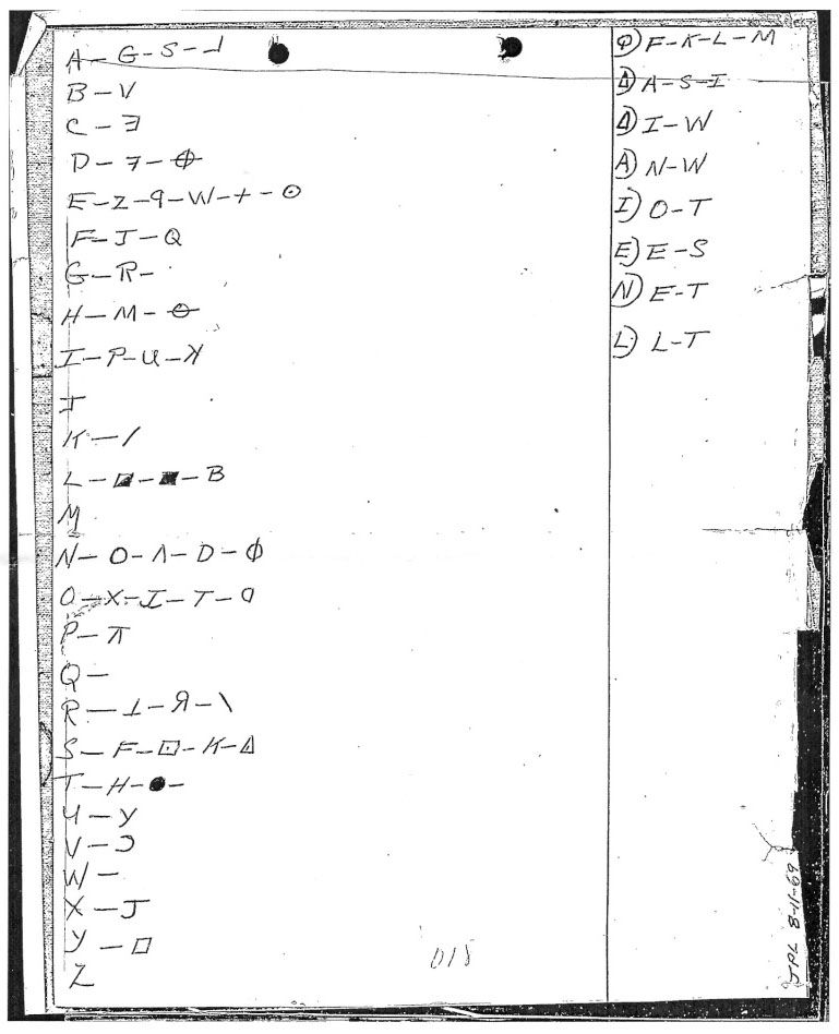 With The Card Came This Sheet Of Paper Showing A Substitution Key To 408 Character Cryptogram