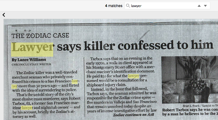 newspaper article collection zodiac killer ciphers
